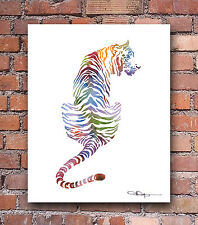 Tiger Abstract Colorful Watercolor Painting Art Print by Artist DJ Rogers