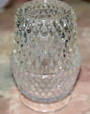 1960'S INDIANA GLASS CLEAR TWO PIECE FAIRY VOTIVE LAMP - DIAMOND POINT PATTERN