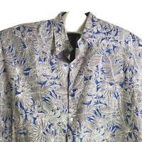 Tori Richard Blue Brown Floral Leaf Fronds 5XB Hawaiian Aloha Shirt
