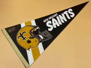 "Vintage New Orleans Saints 1980's 29"" NFL Football Pennant Flag, Excellent"