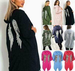New Ladies Sequin Angel Wings Back Over-sized Hoodie Women Jacket Coat Cardigan