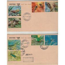 1969 Bhutan Fauna Insects 8 Values Su 2 Envelopes FDC MF74074