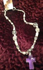 Pearl, Crystal & Rhinestone Necklace With Crystal Cross Pendant, 24 Inches