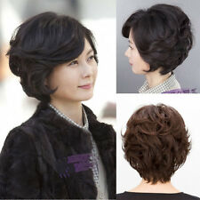 old gift women wig full short curly wavy hair wigs daily wear black/brown wig