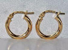 BEAUTIFUL 9 CT YELLOW GOLD TWISTED CREOLE HOOP EARRINGS