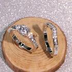 2 Pcs/set Women 925 Silver Rings Fashion Cubic Zirconia Jewelry Gifts Size 6-10