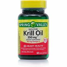 Brand New Spring Valley Krill Oil Omega-3 350mg 60ct Softgels Bottle Exp 10/19