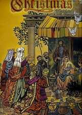 CHRISTMAS Holy Family Baby JESUS in Stable Wise Men VINTAGE 1945 MATTED Picture
