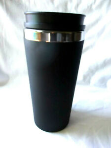 16 oz. Double Wall Stainless Steel  Black Rubberized Grip  Coffee Tumbler