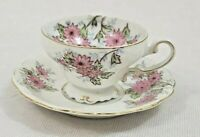 Vintage Made In Occupied Japan China TeaCup/Saucer White/Pink Floral w/Gold Trim