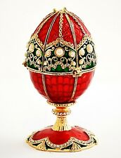 Musical Egg Trinket Box with Orthodox Church. Red Enamel with Swarovski Crystals