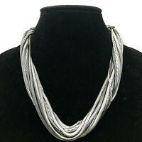"Lia Sophia, Kiam Family, Multi Strand Metal HematiteTone Crystals 18"" Necklace"