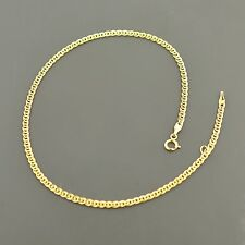 """10K YELLOW GOLD 2.4MM DOUBLE CURB LINK 9/10"""" ADJUSTABLE ANKLET FREE SHIPPING"""