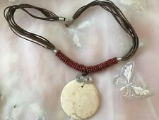 "Lovely Pendant Necklace Brown Strand Disc Pendant 18"" Fixed Length Pendant 2"""