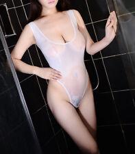 Women Hot Lingerie One-Piece Swimwear High Cut Leotard Thong Bodysuit Sheer Suit