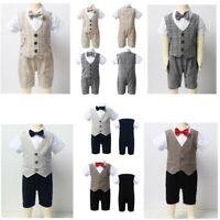 Toddler Infant Baby Boys Romper Jumpsuit Kids Waistcoat Gentleman Summer Outfit