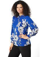 Susan Graver Womens Smocked Cuffs Printed Liquid Knit Top X-Small Blue A347090