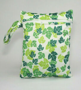 Small Wet Bag for Nappies, Breast Pads, Wipes, Cloth Pads - Green Leaves