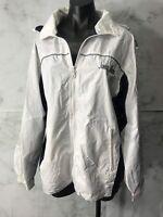 Alaska Juneau Womens Size M White Blue Windbreaker Hooded Lightweight Casual