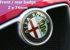 Alfa Romeo 74mm x2 front / rear logo badge stickers GOLD