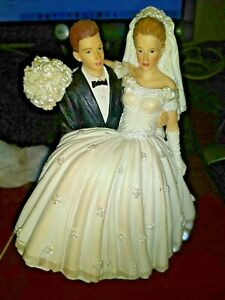 Lillian Rose Hand Painted Porcelain Bride &Groom Red Haired American Cake Topper