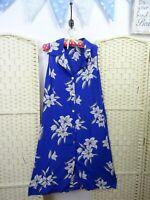 VINTAGE viscose blue floral boho/festival 40s style fit & flare tea dress M/L