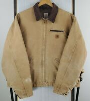 VTG J97 CARHARTT Size 2XL Mens Blanket Tan Detroit Canvas Duck Trucker Jacket