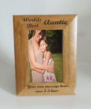 Worlds Best Auntie 4 x 6 Wooden Photo Frame  - Personalise this frame - Free Eng