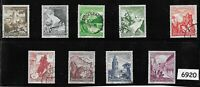#6920 Complete 9 stamp set 1938 Winter relief fund Germany ScB123-B131