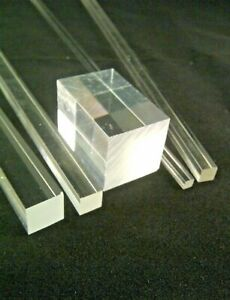 SQUARE CLEAR ACRYLIC ROD SOLID PERSPEX PLASTIC BAR ROD 3MM to 40MM SECTIONS
