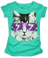 Girls Cool Cat Kitten Glasses Cotton Summer Tunic T-Shirt Top 8 to 16 Years