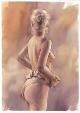 original drawing A3 252SA art by samovar woman nude girl watercolor Signed 2020