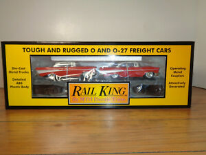 MTH RAILKING O GAUGE # 30-7610 MTH LINES FLAT CAR WITH 2 ERTL 1957 CHEVYS - NEW