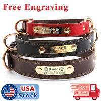 PU Personalized Dog Collars Name ID Collar with Nameplate Engraved XS-XL