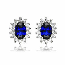 Luxury Kate Princess Diana Engagement Blue Sapphire Earrings Stud 925 Sterling