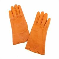Givenchy gloves G logos Orange leather Woman Authentic Used T8197