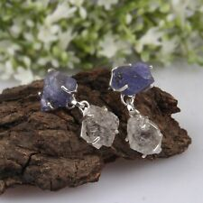 Raw Tanzanite and Herkimer Diamond Earring 925 Silver Gemstone Drop Earrings