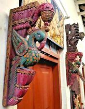 Antique Wooden Wall Corbel Bracket Pair Peacock Vintage Sculpture Shelf Decor US