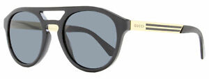 Gucci Oval Sunglasses GG0689S 001 Black/Gold 53mm 689