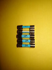 3A 3 Three Amp Glass Fuse 20mm Radio Motorcycle Classic Car Pack of 5 Five New