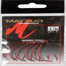5718 Matzuo Wide Gap Worm Hook (Red Chrome, Size 2/0, Qty 6)