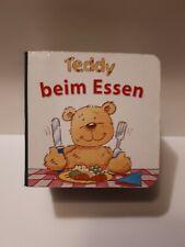 Mini Pappbuch TEDDY BEIM ESSEN  Parragon 10 Seiten 5 cm x 5 cm x 6 cm Rarität
