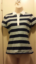Lot Two Polo T-Shirts Women's Navy and Blue and Black and Grey Gray