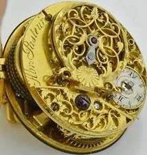 18kGild Silver Skull Memento Mori Occultist Verge Fusee Oignon pocket watch 1720