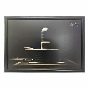 Dhyanalinga Photo - Black (18x12) with frame