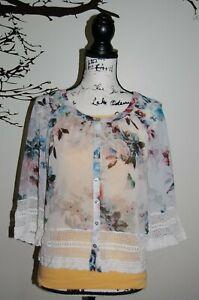 Anthropologie Meadow Rue XS crochet trim sheer floral print cardigan blouse top