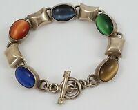 Vintage Mexico 925 Sterling Silver Catseye Gemstone Chunky Bracelet Toggle Clasp