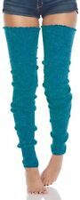 Foot Traffic Super Long Peacock Blu Cable Heavy Knit Leg Warmer Womans Socks New