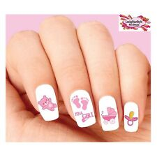 Waterslide Nail Decals Set of 20 - Baby Girl Pink Footprints, Stroller, Assorted