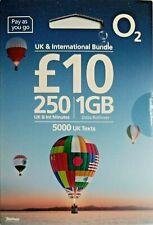 O2 SIM: £10 UK & International Bundle: 250 international mins, 5000 UK SMS, 1GB